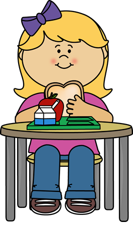 Girl eating cafeteria crafts. Lunch clipart clip art black and white download