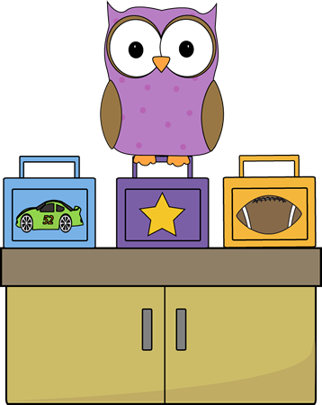 Classroom vector. Owl lunch box monitor