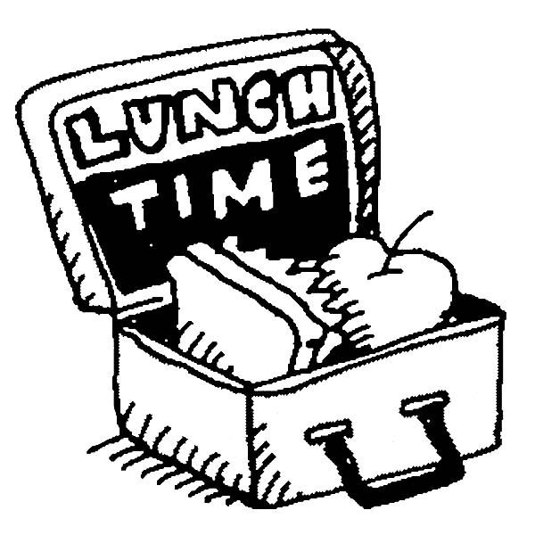 Lunchbox clipart outline. An apple and sandwich