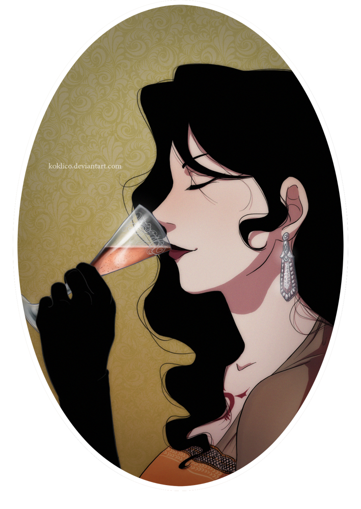 Lust drawing fan art. And her champagne by