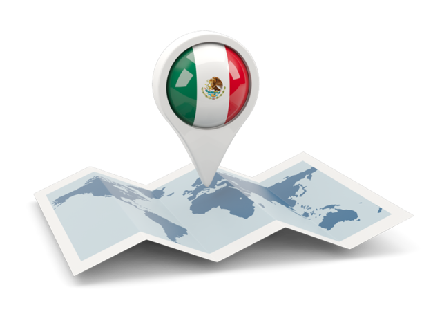México png pin. Round with map illustration