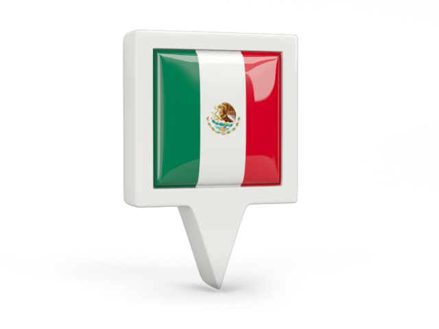 México png pin. Square icon illustration of
