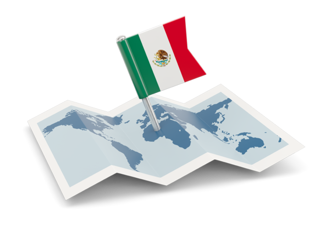 México png pin. Flag with map illustration