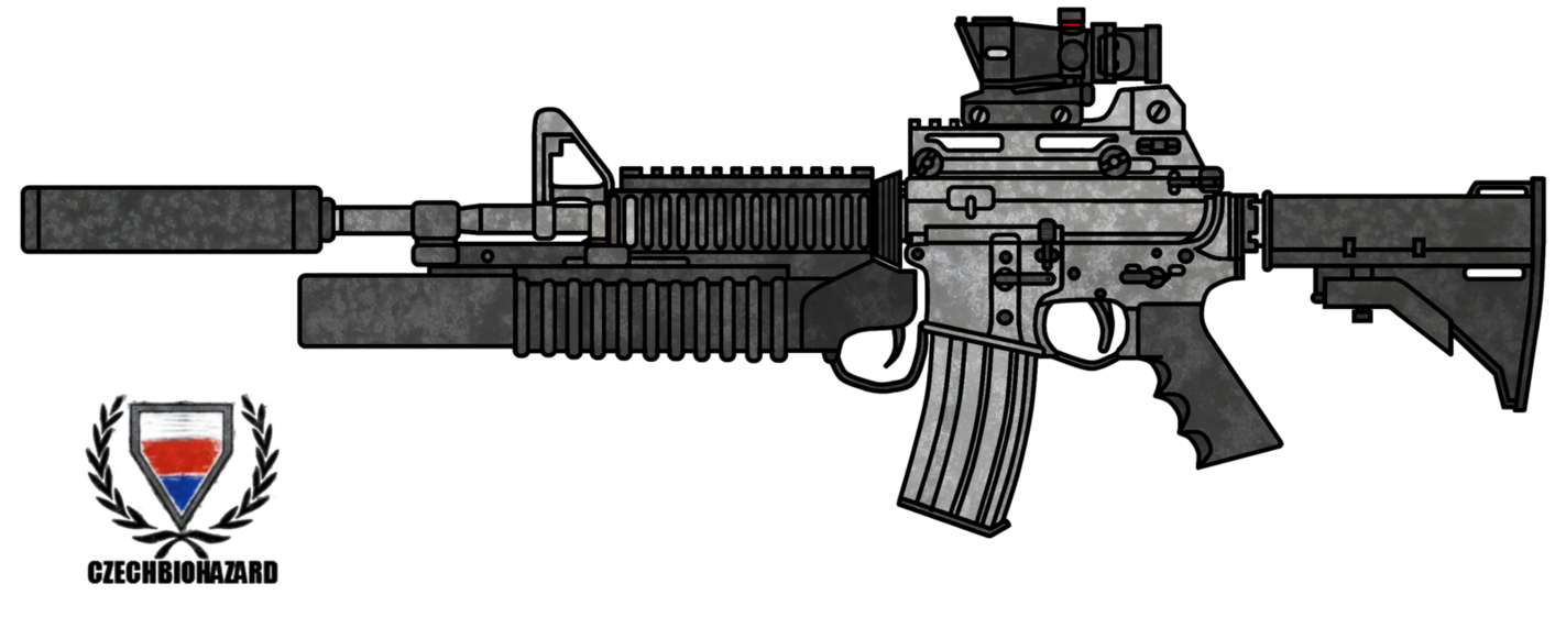 M16 png drawing. Colt m a customized