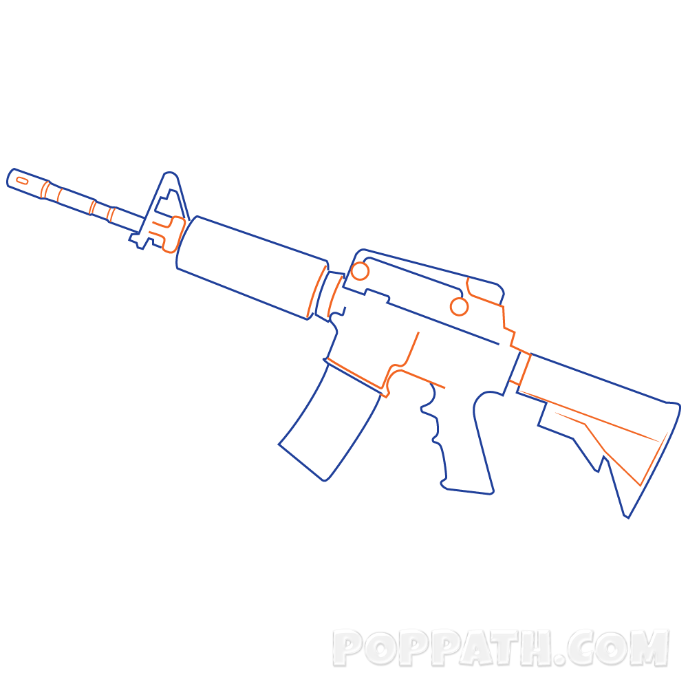M16 png drawing. How to draw a