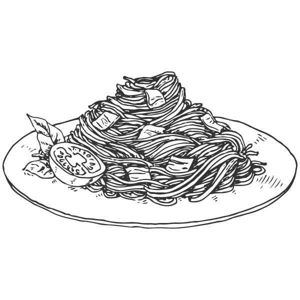 Macaroni drawing. Pasta vector library