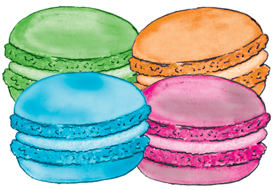 Macaroon drawing food. Market district madelines macarons