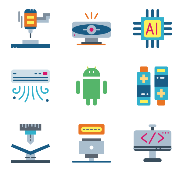 Vector packaging innovative. Machine icons free robot