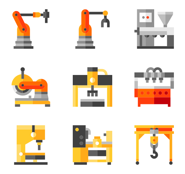Machine vector. Machinery icons free factory