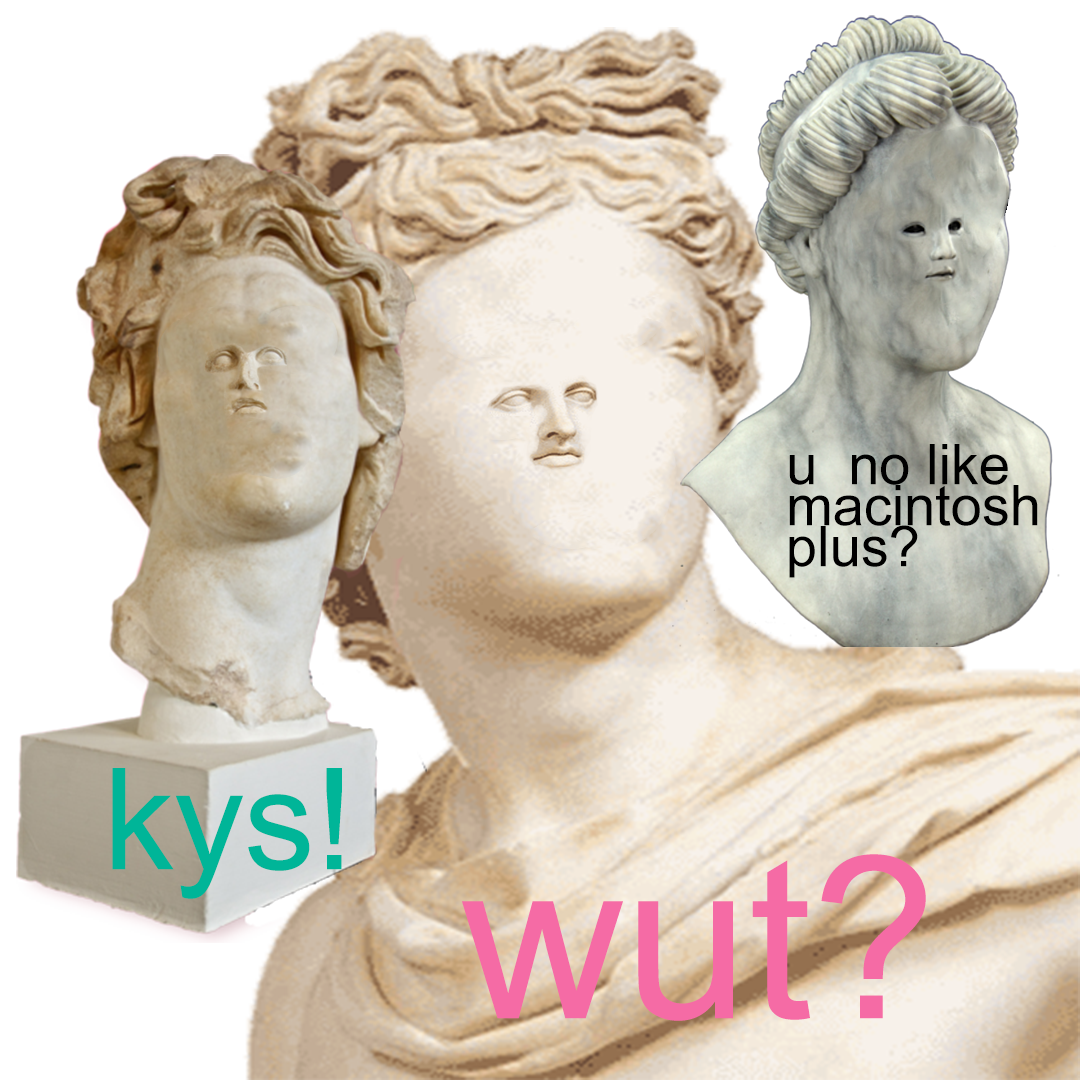 Vaporwave statue transparent png. When he no like