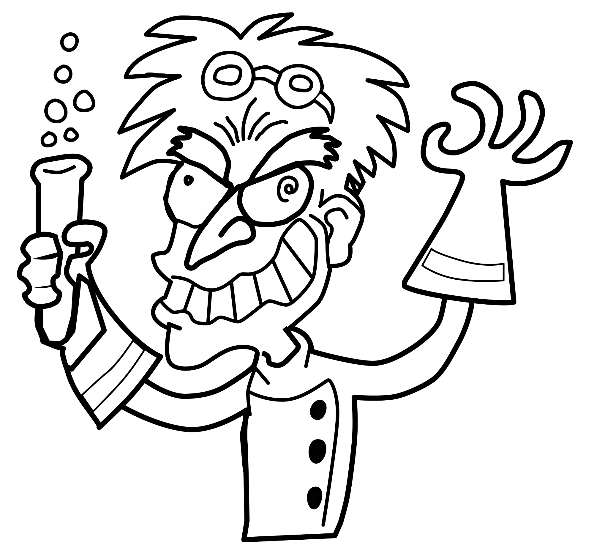 Mad drawing. File scientist bw svg