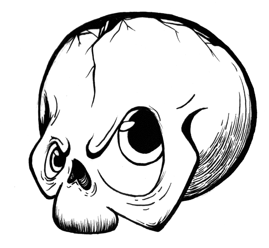 Mad drawing graffito. Skull head by madlittlegamer