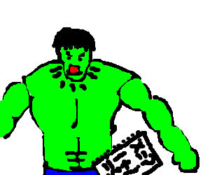 Mad drawing hulk. Incredible over math problem