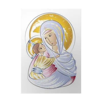 Madonna drawing colorful. Blessed virgin mary with