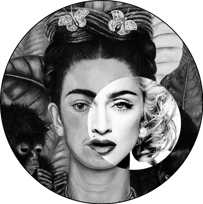 Madonna drawing colorful. Frida circle sticker by