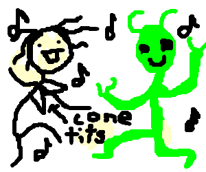 Madonna drawing draw something. Green alien and dancing
