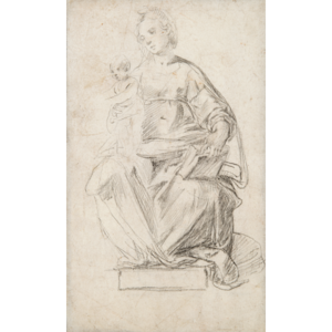 Madonna drawing ink. Late th century italian