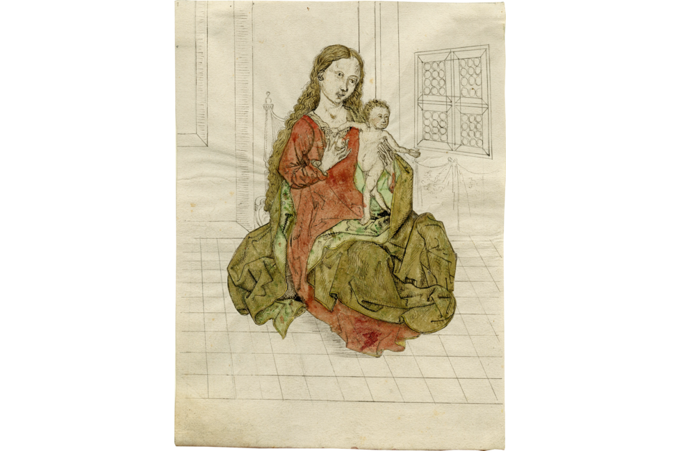 Madonna drawing ink. And child