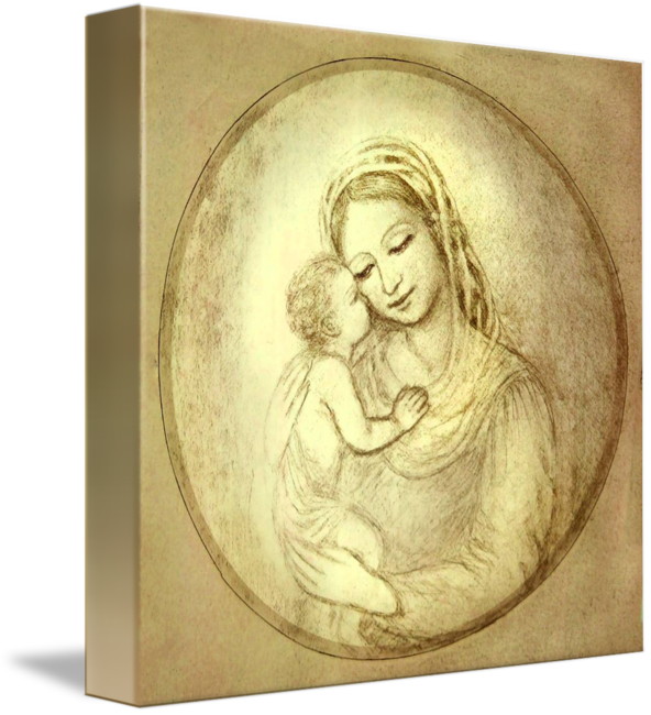 Madonna drawing print. M with kissing child