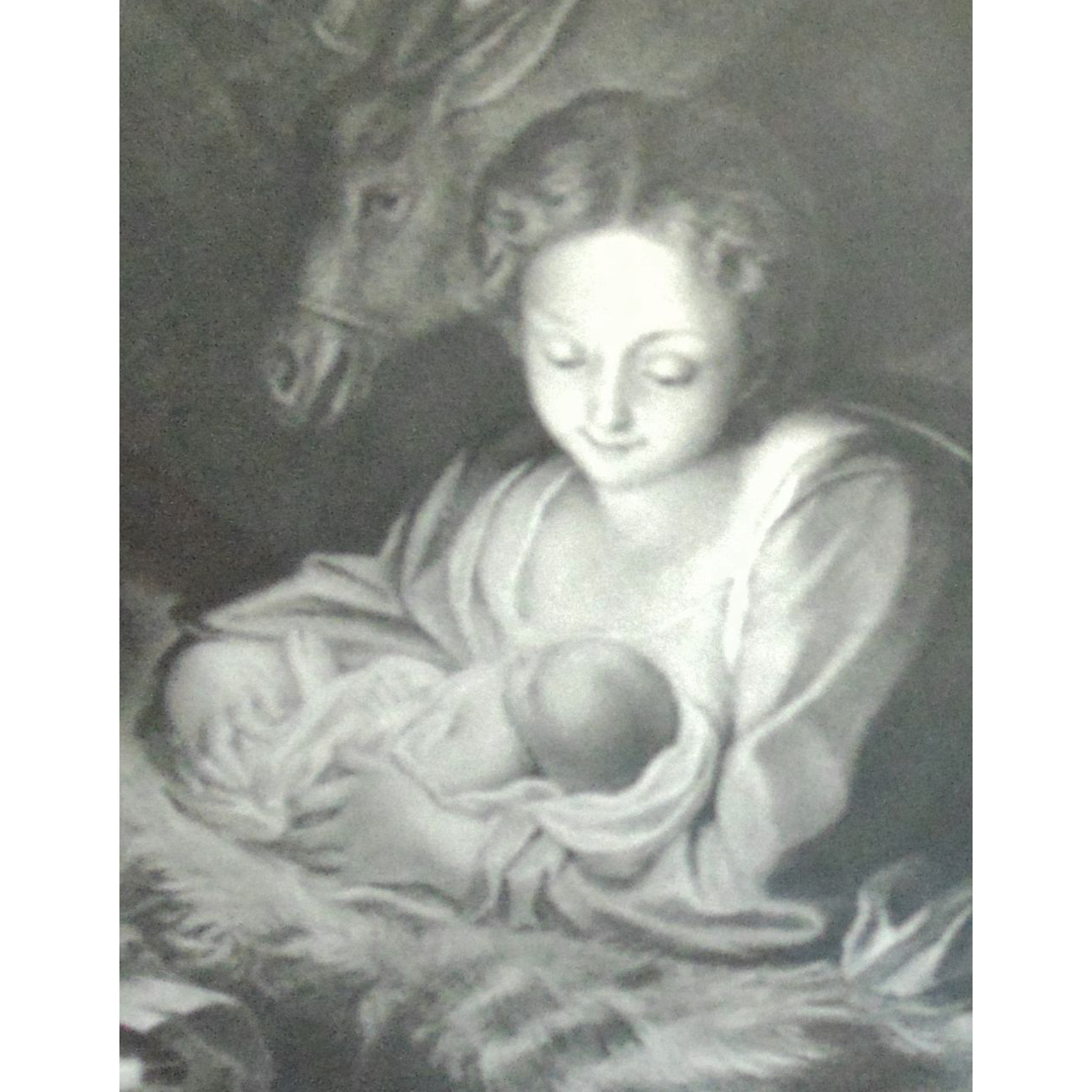 Madonna drawing print. Antique religious nativity virgin