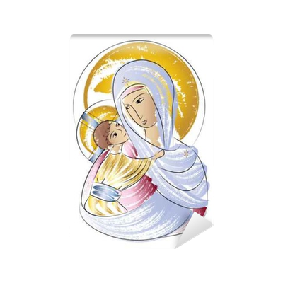 Madonna drawing wall. Blessed virgin mary with