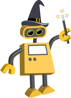 Robot tim all robots. Magician clipart magic background banner free