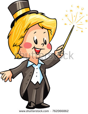 Boy making trick his. Magician clipart tricky picture black and white stock