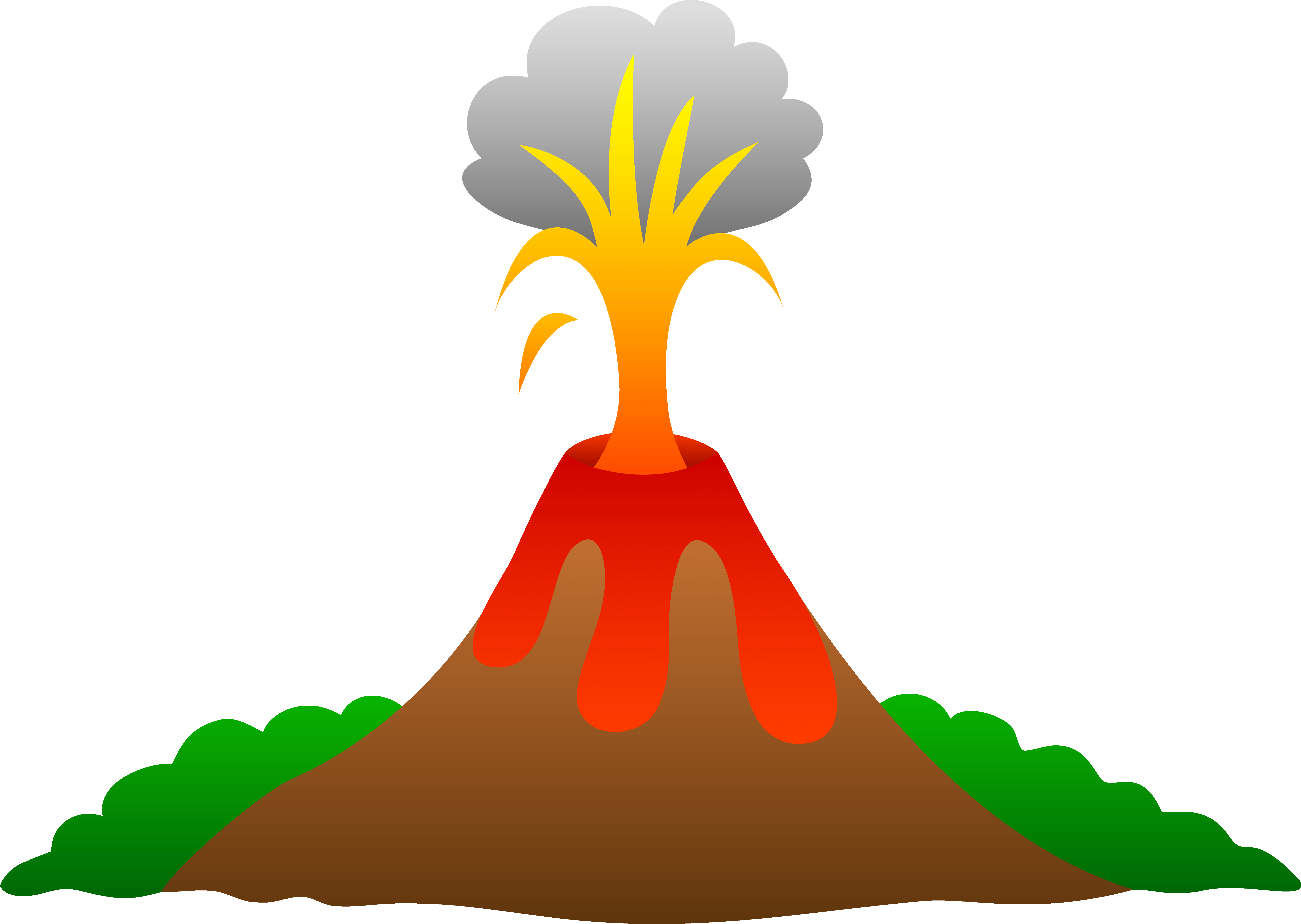 Magma drawing volcanic mountain. Coming out of a