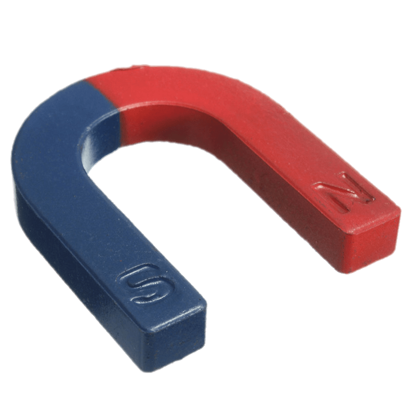 Magnet transparent. Red and blue horseshoe
