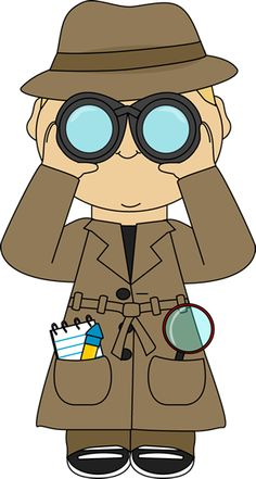 Magnifying clipart binoculars. Girl detective with glass