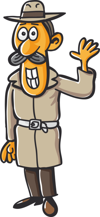 Paperclip vector cartoon. Detective magnifying glass paper