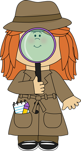 Magnifying clipart detective hat. Girl with glass vbs