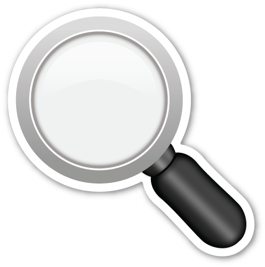 Magnifying glass emoji png. Left pointing emojistickers com