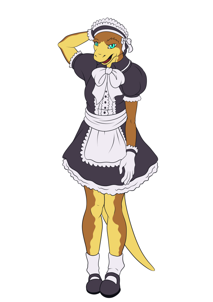 Maid clipart maid outfit. Gecko commission by prydri