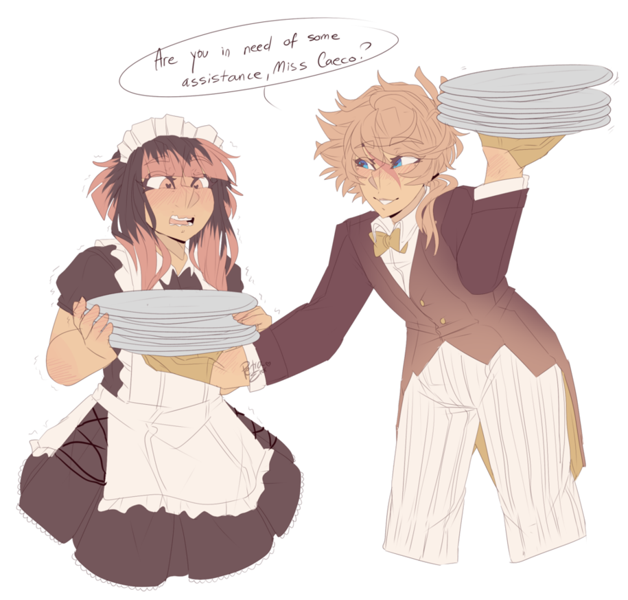 Maid drawing. A and butler by