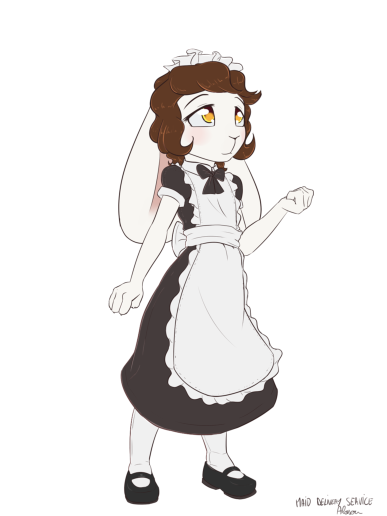 Maid drawing. Delivery service by alasou