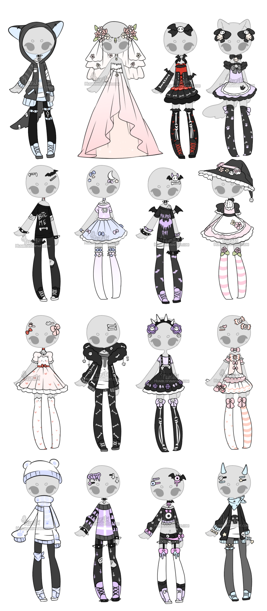 Maid drawing reference. Outfit adoptable mix closed