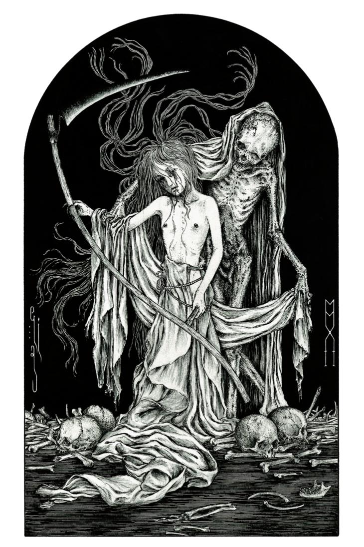 Maid drawing skeleton. Death and the maiden