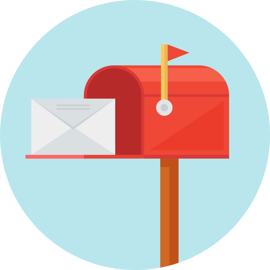 Mailbox vector email address. Direct mail marketing services