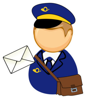 Mailman clipart office mail. Carrier post letter sticker