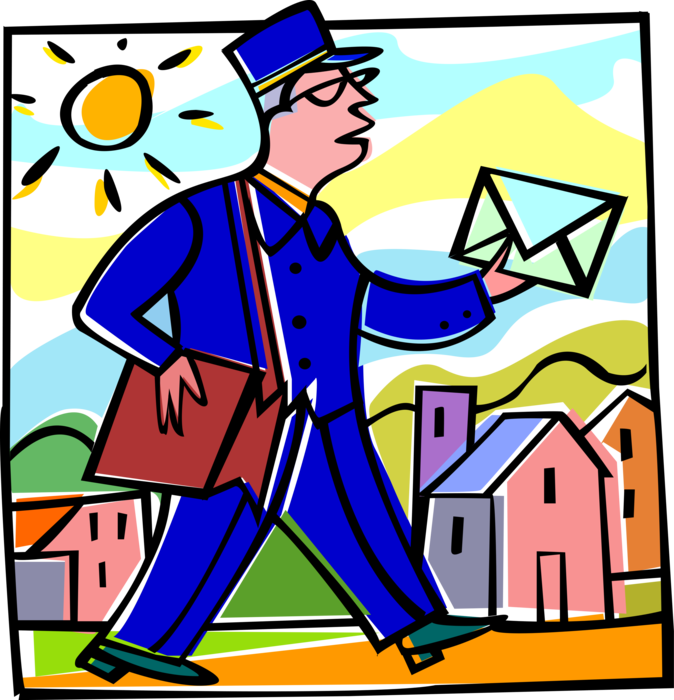 Mailman clipart office mail. Delivers letter vector image