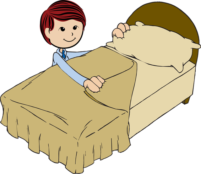 How to make a picture a png. Boy making bed clipart