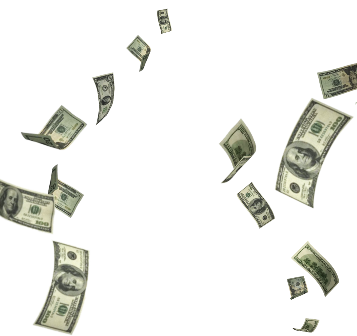 Flying dollar png. Make money background transparentpng