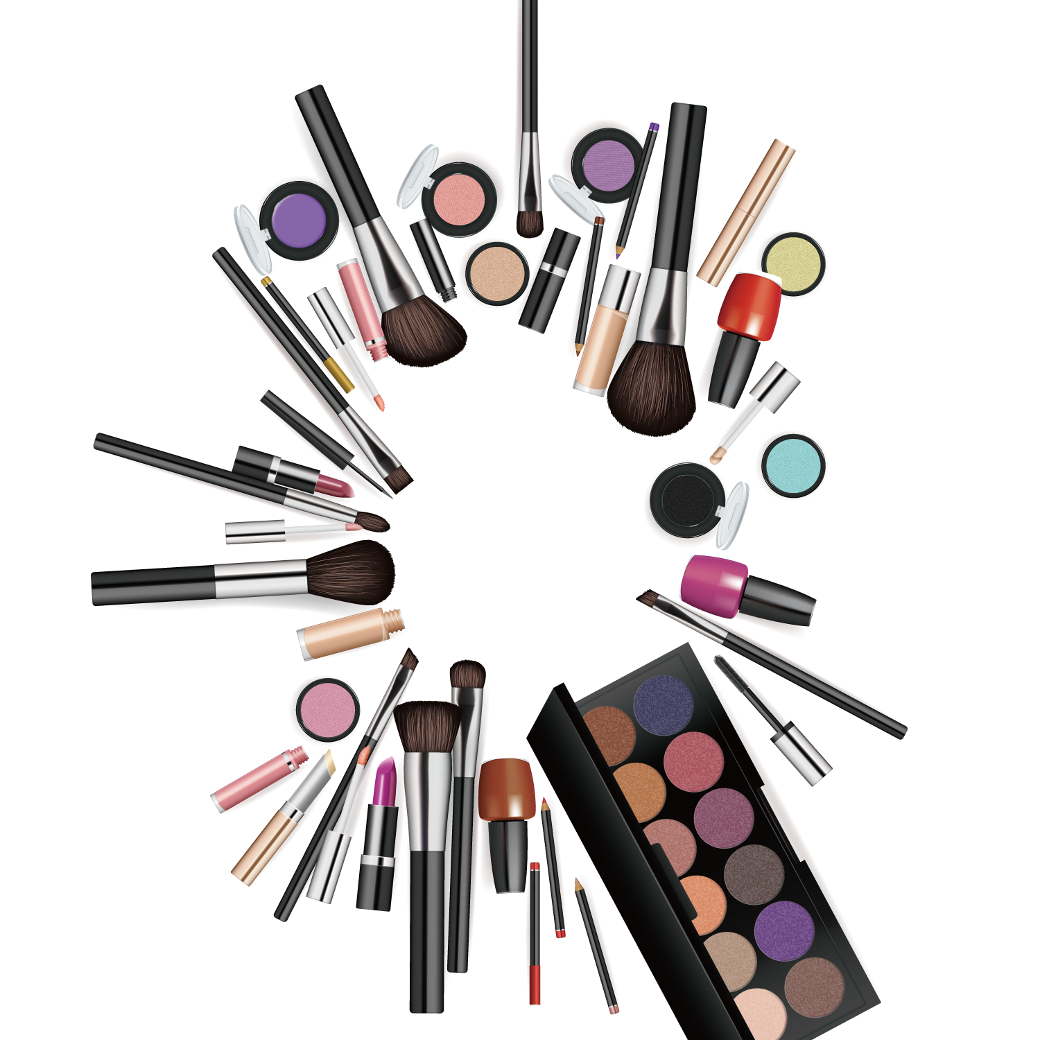 Makeup background png. Cosmetics brush make up