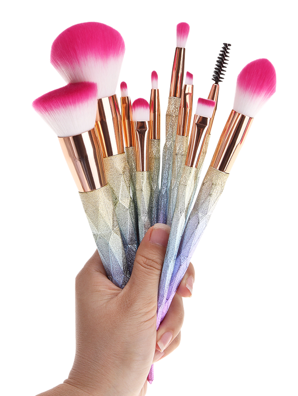Makeup brushes png. Glitter rainbow set in