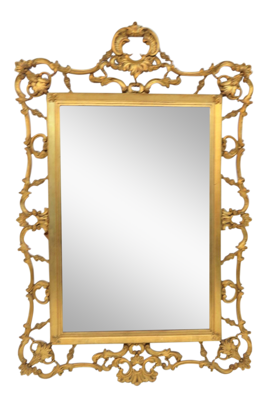Brass clip mirror. Italian reticulated carved gold