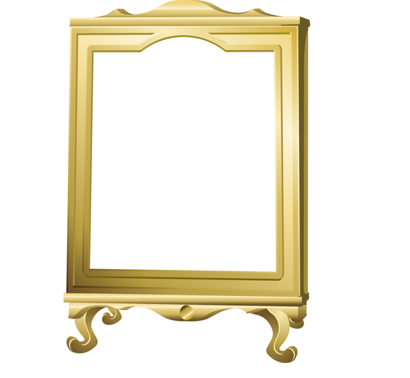 Brass clip mirror. Picture frames drawing public