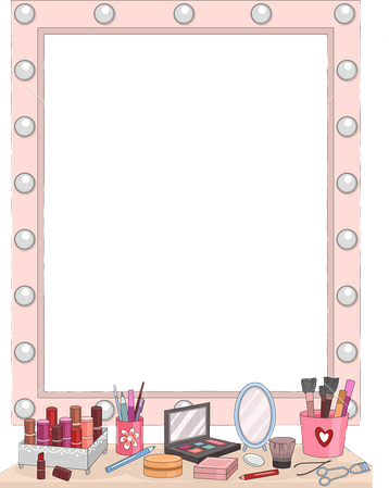 Makeup clipart rectangle mirror. Vanity table sticker by
