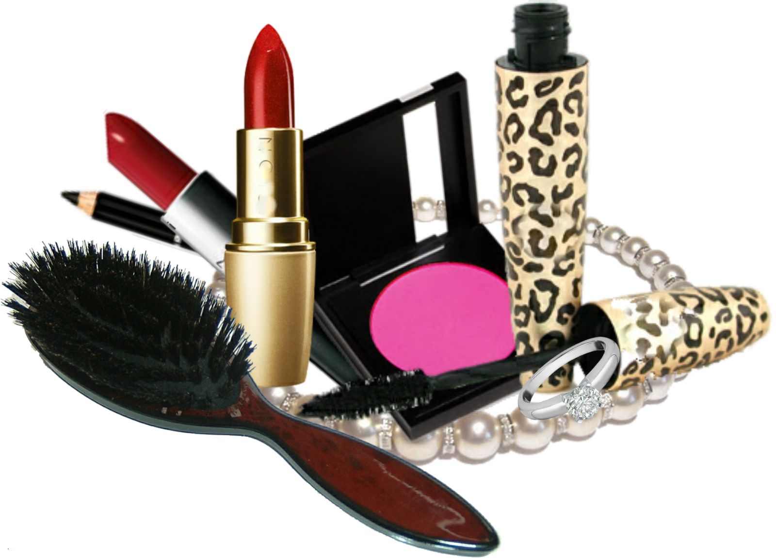 Makeup products png. Kit modern haircut download