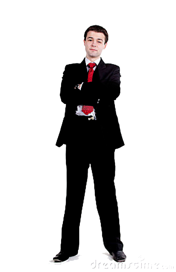 Male clipart man standing. Young business arms crossed